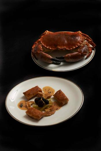 crépinettes de tourteau, homard, langoustine